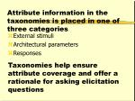 attribute information in the taxonomies is placed in one of three categories