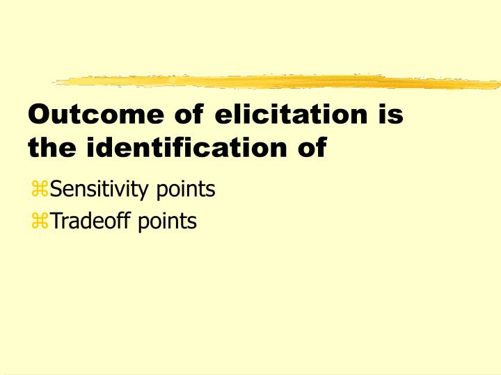 Outcome of elicitation is the identification of