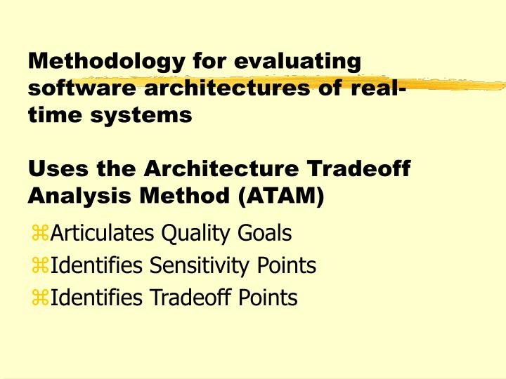 Methodology for evaluating software architectures of real-time systems