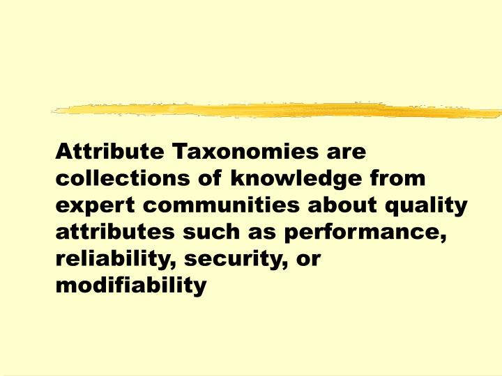 Attribute Taxonomies are collections of knowledge from expert communities about quality attributes such as performance, reliability, security, or modifiability