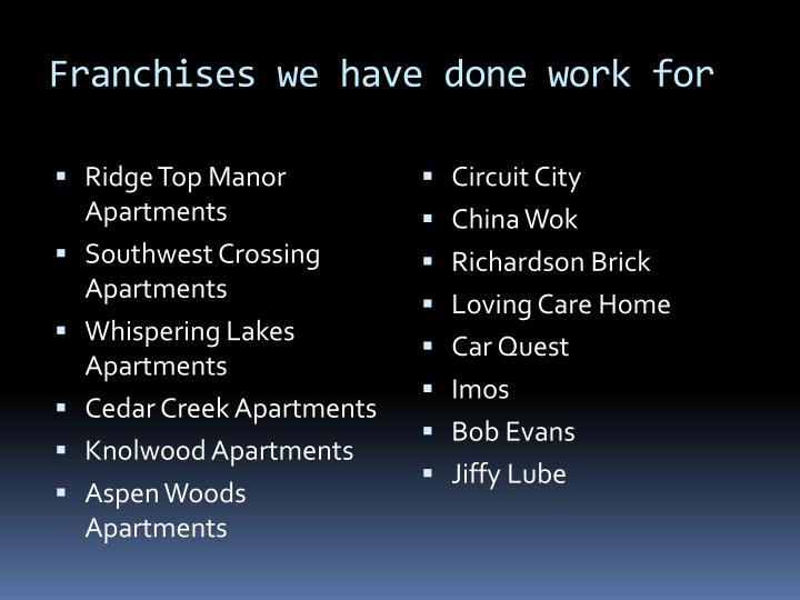 Franchises we have done work for