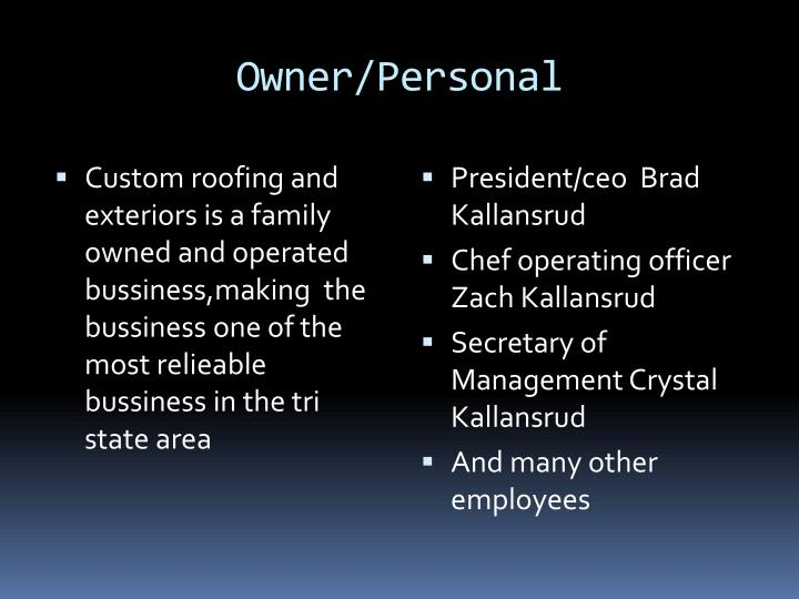 Owner/Personal