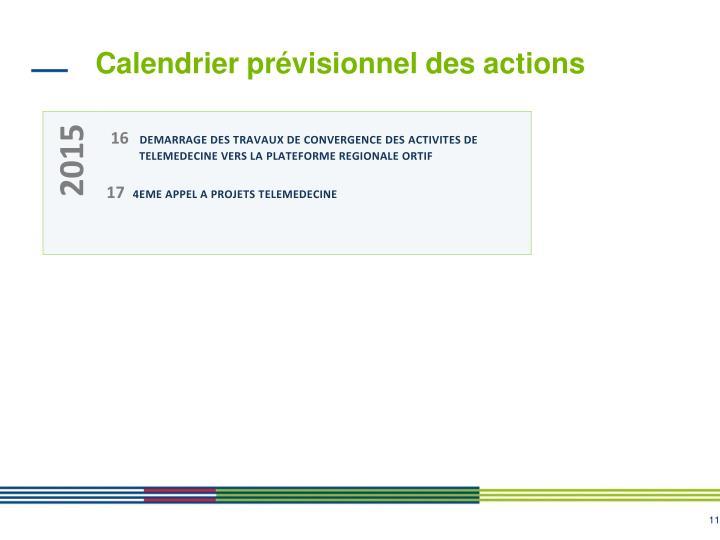 Calendrier prévisionnel des actions