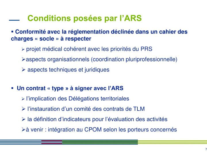 Conditions posées par l'ARS