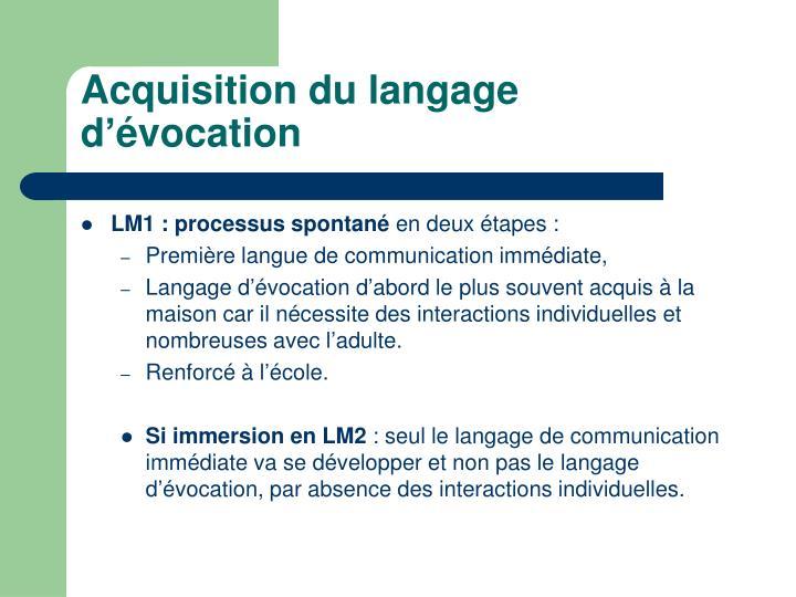 Acquisition du langage d