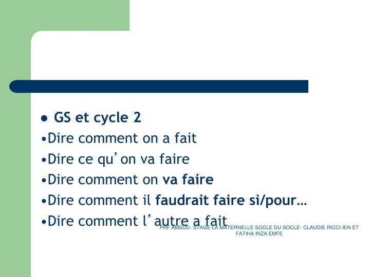 GS et cycle 2