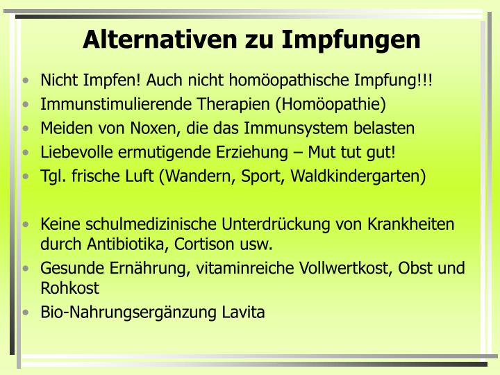 Alternativen zu Impfungen