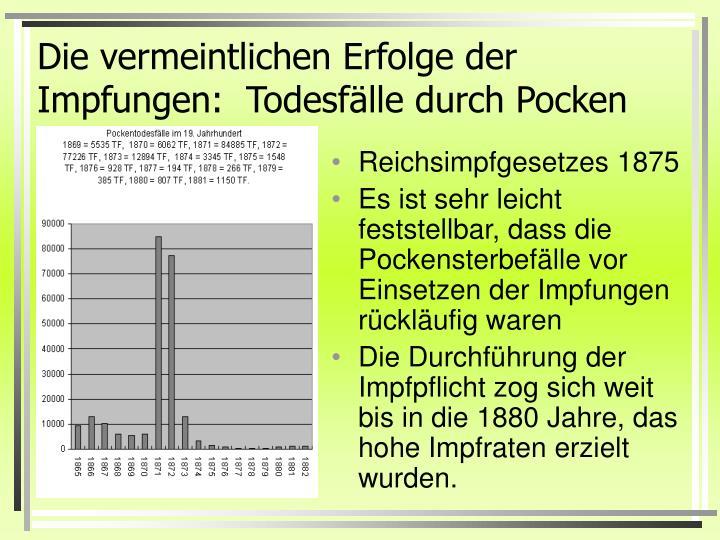 Die vermeintlichen Erfolge der Impfungen:  Todesfälle durch Pocken