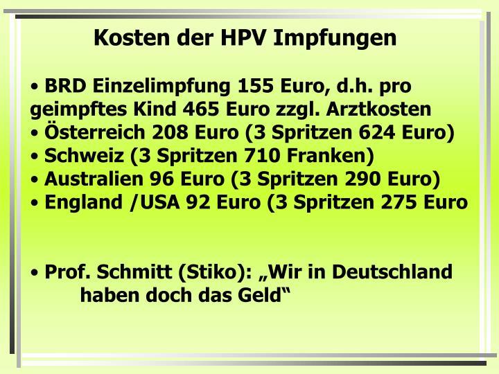 Kosten der HPV Impfungen