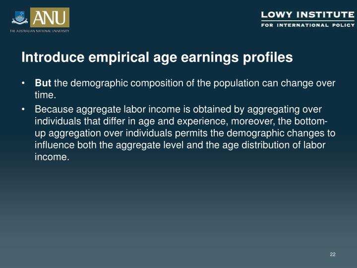 Introduce empirical age earnings profiles