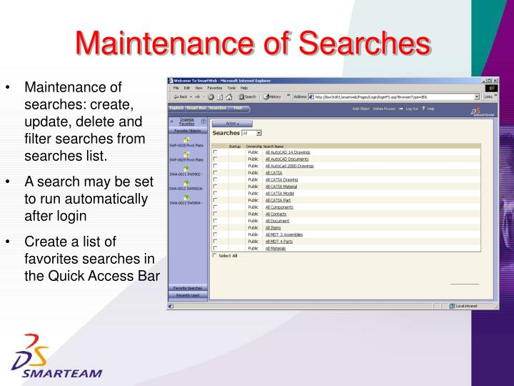 Maintenance of Searches