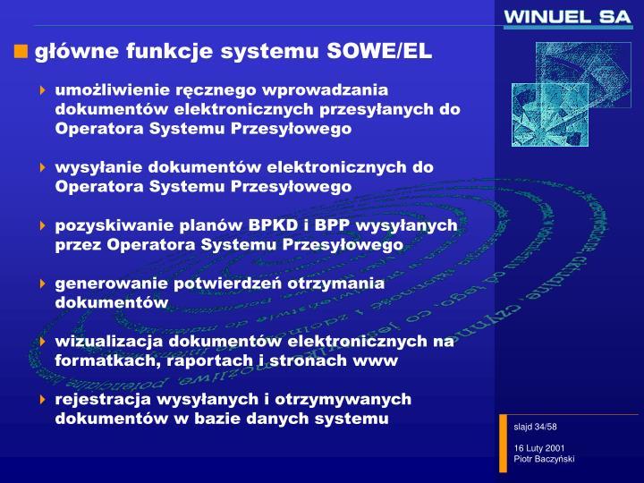 główne funkcje systemu SOWE/EL