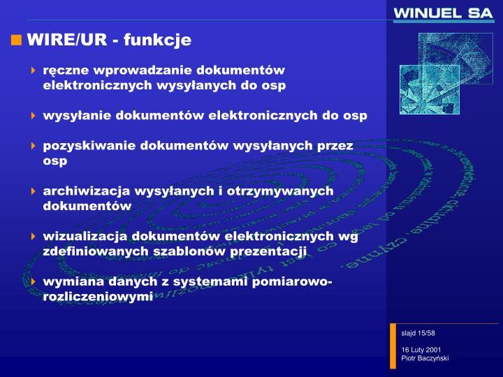 WIRE/UR - funkcje