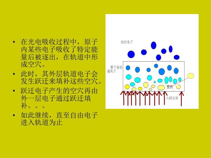 在光电吸收过程中,原子内某些电子吸收了特定能量后被逐出,在轨道中形成空穴。