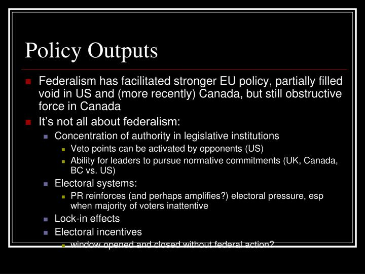 Policy Outputs