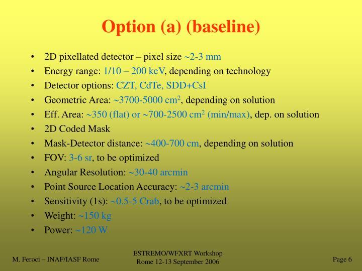 Option (a) (baseline)