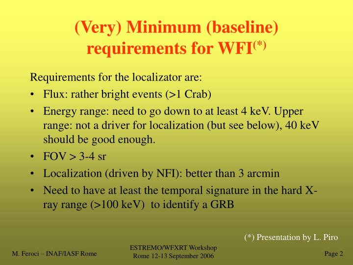 Very minimum baseline requirements for wfi