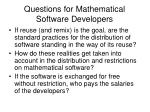 questions for mathematical software developers1