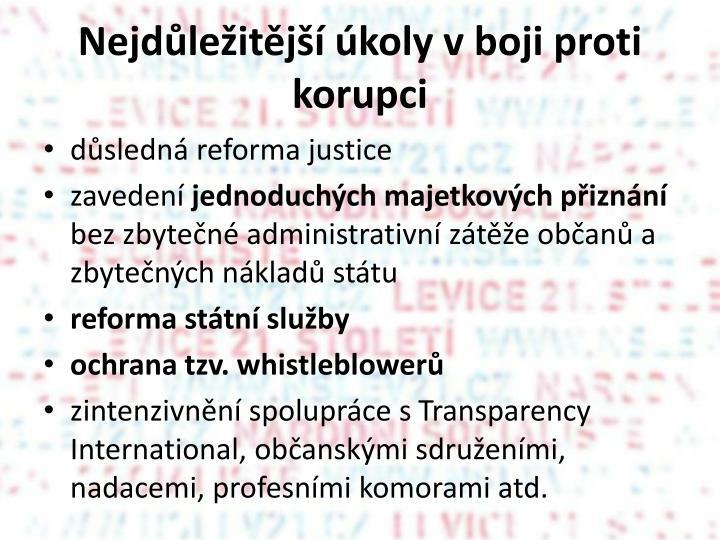 Nejdůležitější úkoly v boji proti korupci