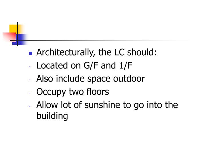 Architecturally, the LC should: