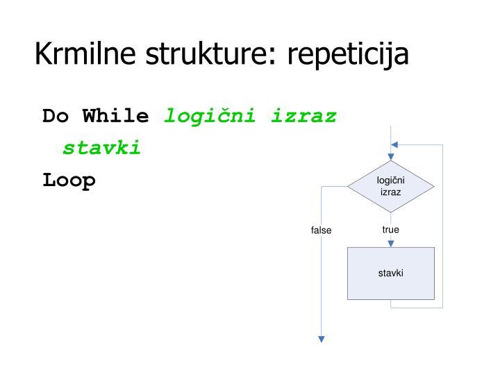 Krmilne strukture: repeticija