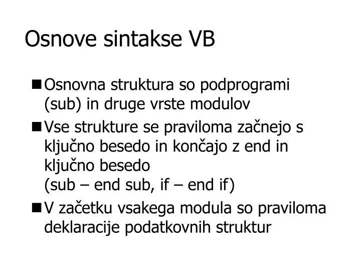 Osnove sintakse VB