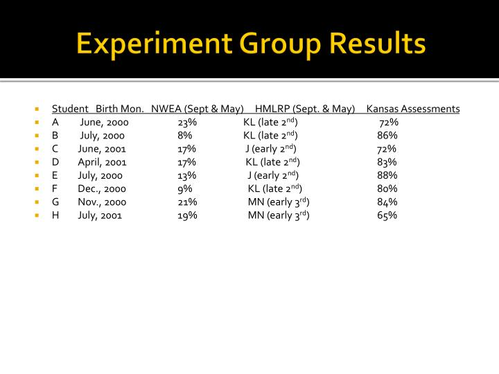 Experiment Group Results