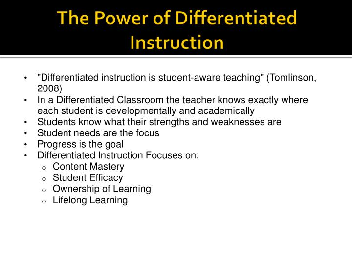 The Power of Differentiated Instruction