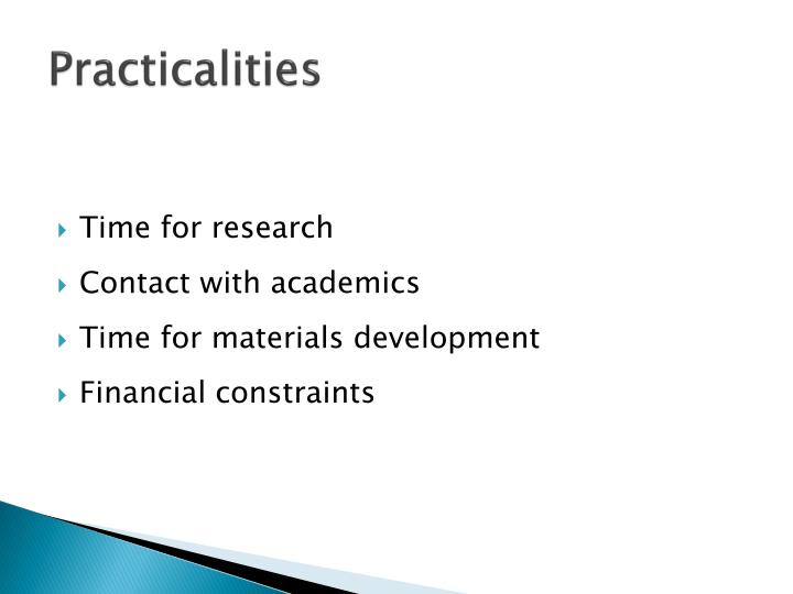 Practicalities