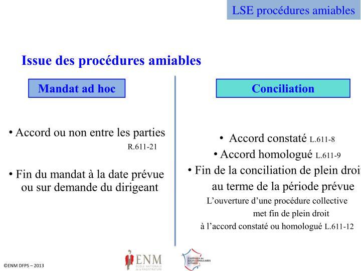 LSE procédures