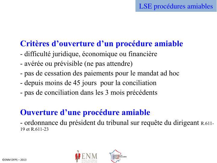 LSE procédures amiables