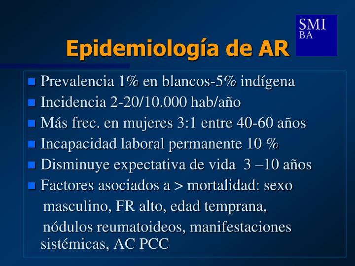 Epidemiología de AR