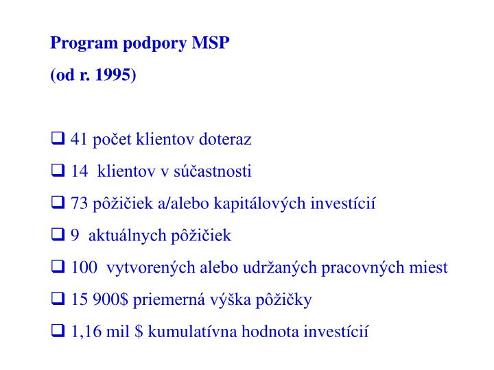 Program podpory MSP