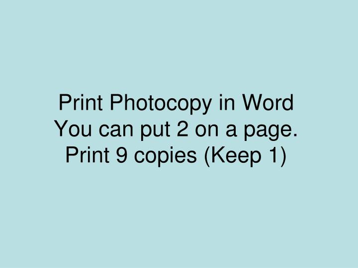 Print Photocopy in Word