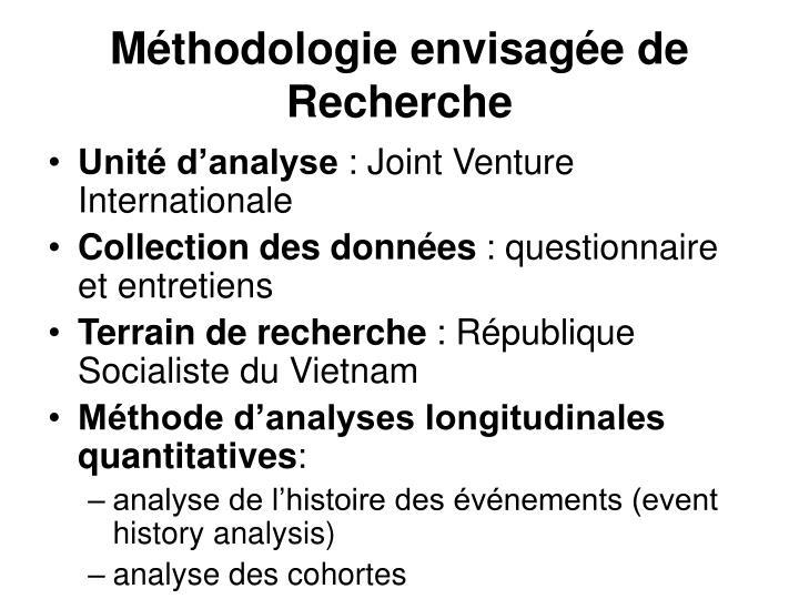 Méthodologie envisagée de Recherche