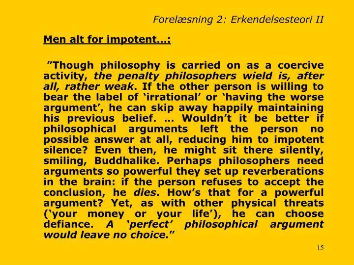 Forelæsning 2: Erkendelsesteori II