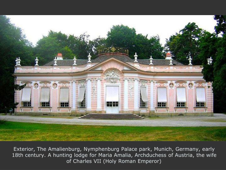 Exterior, The Amalienburg, Nymphenburg Palace park, Munich, Germany, early 18th century. A hunting lodge for Maria Amalia, Archduchess of Austria, the wife of Charles VII (Holy Roman Emperor)