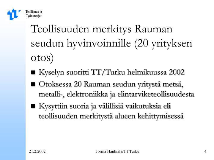 Teollisuuden merkitys Rauman seudun hyvinvoinnille (20 yrityksen otos)