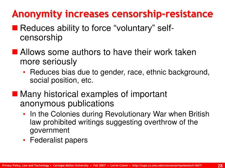 Anonymity increases censorship-resistance