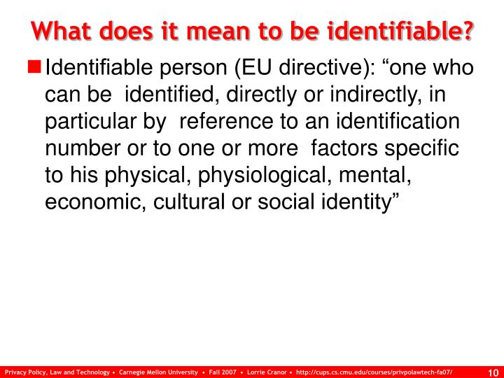 What does it mean to be identifiable?