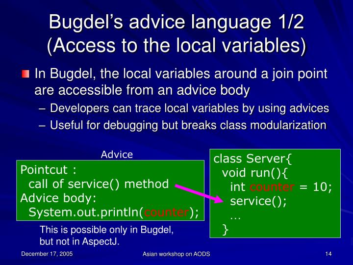 Bugdel's advice language 1/2