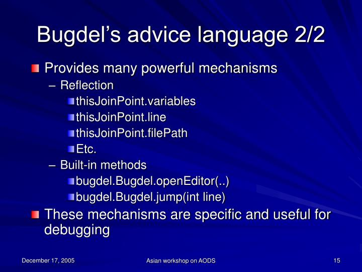 Bugdel's advice language 2/2