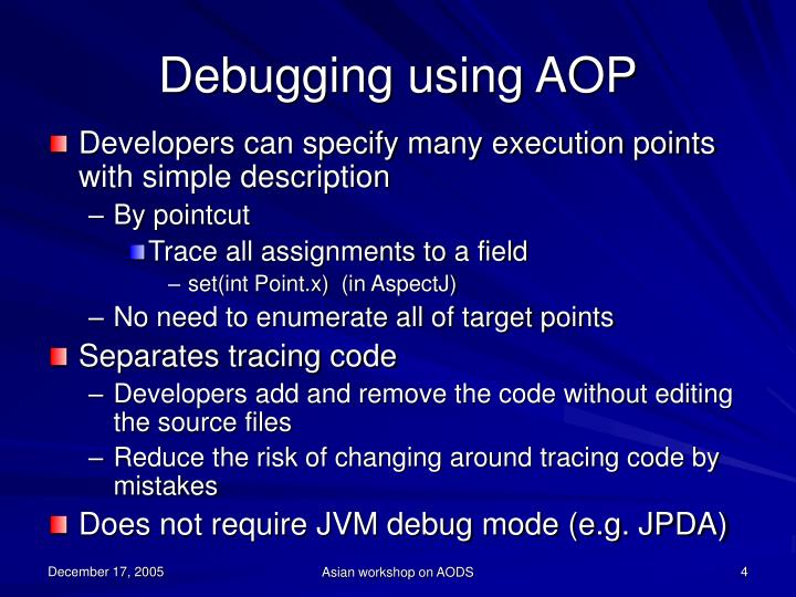 Debugging using AOP
