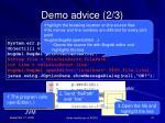 demo advice 2 3