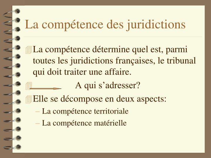La compétence des juridictions