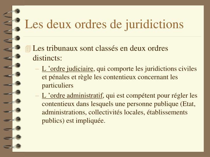 Les deux ordres de juridictions
