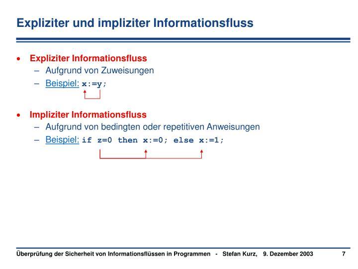 Expliziter und impliziter Informationsfluss