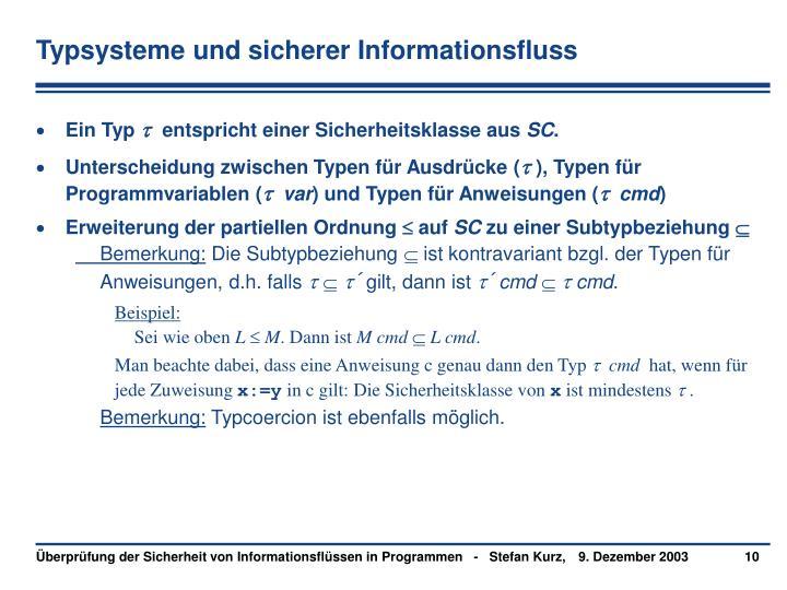 Typsysteme und sicherer Informationsfluss