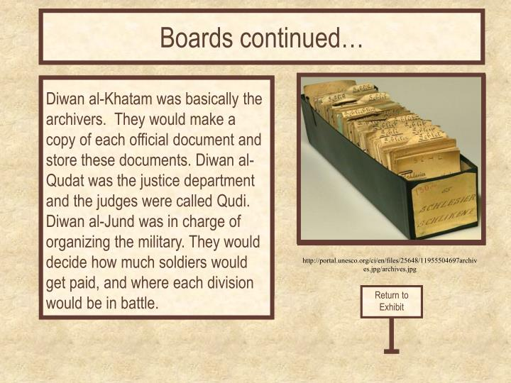 Boards continued…