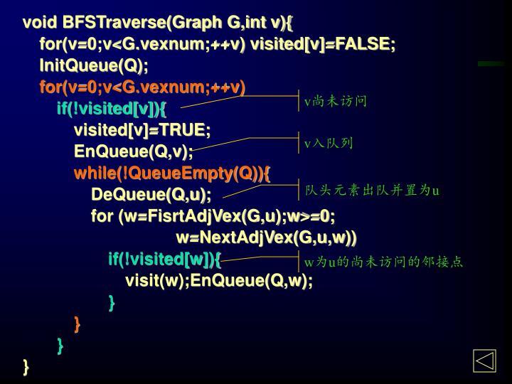 void BFSTraverse(Graph G,int v){